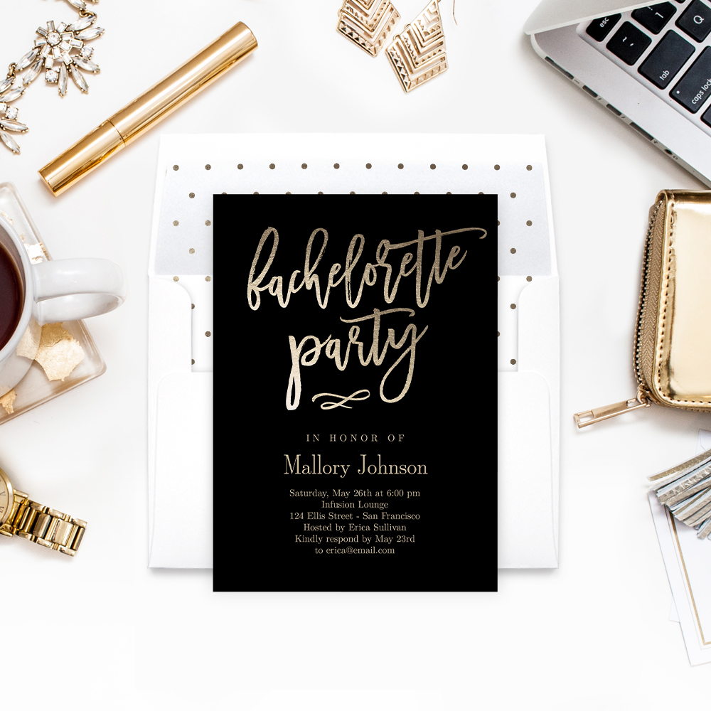 Brushed Calligraphy Bachelorette Party Printable Invitation Template