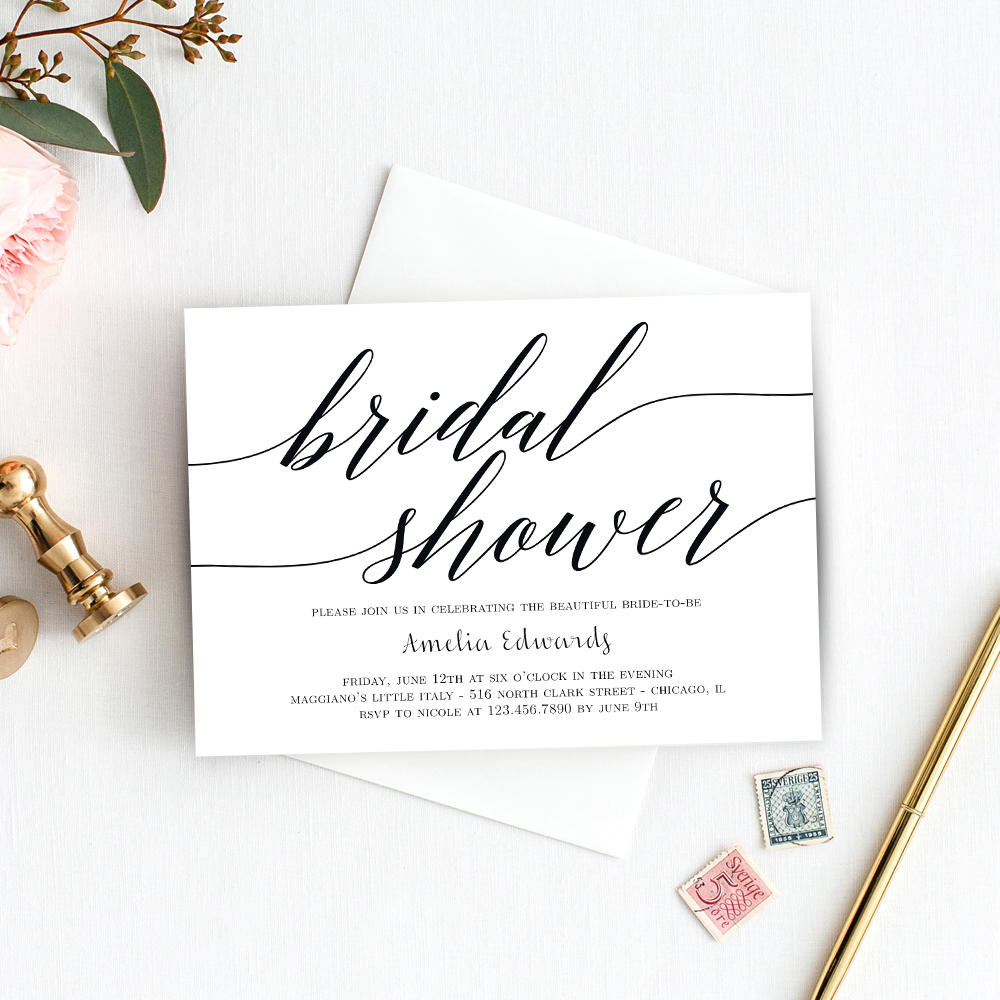Modern script bridal shower printable invitation template stopboris Image collections