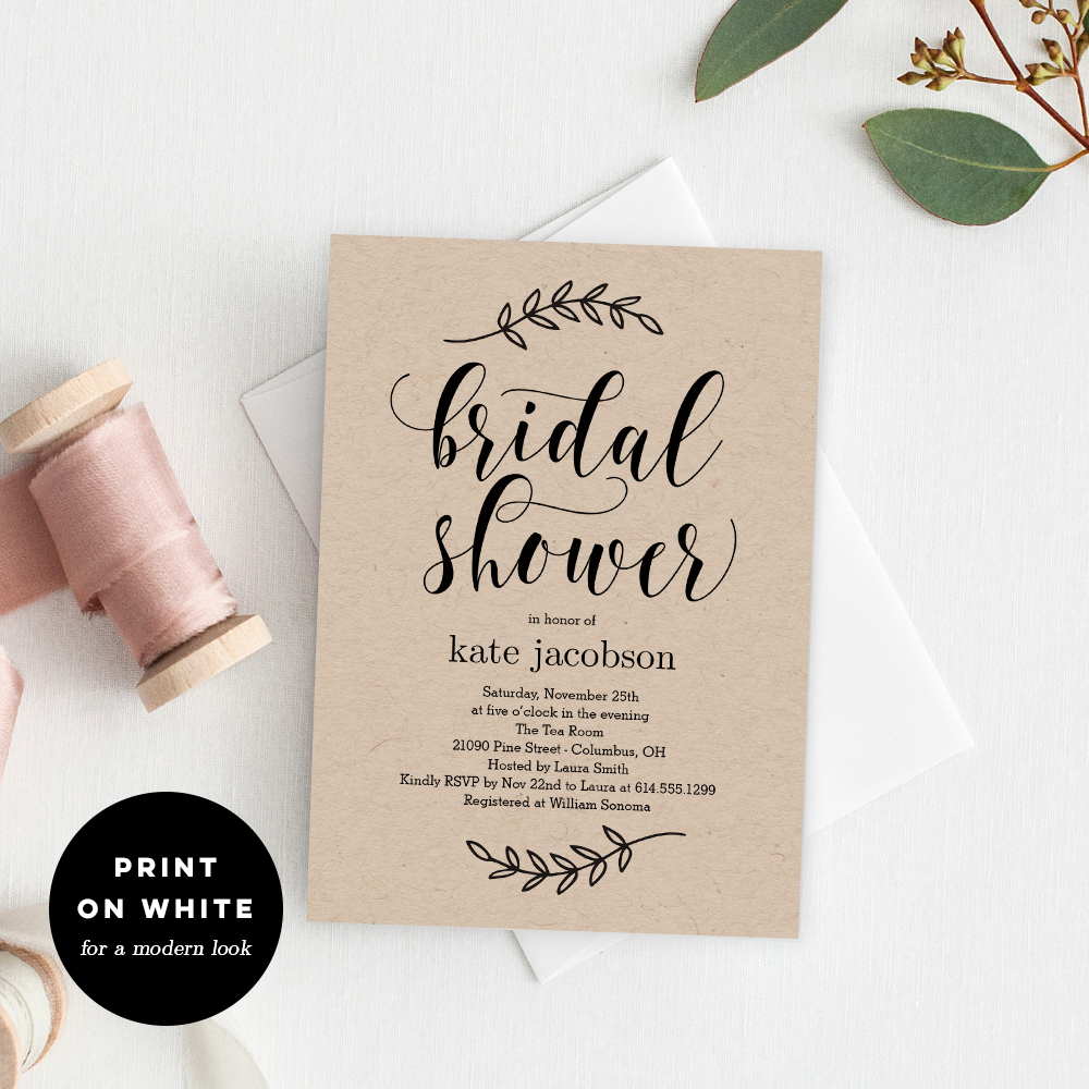 Rustic Elegance Bridal Shower Printable Invitation Template