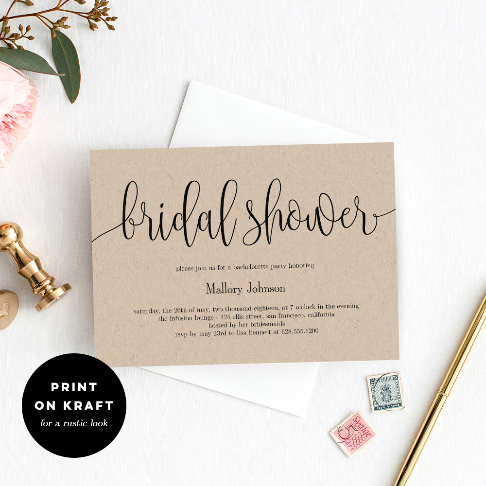 6370d3574f6c Lovely Calligraphy Bridal Shower Printable Invitation Template