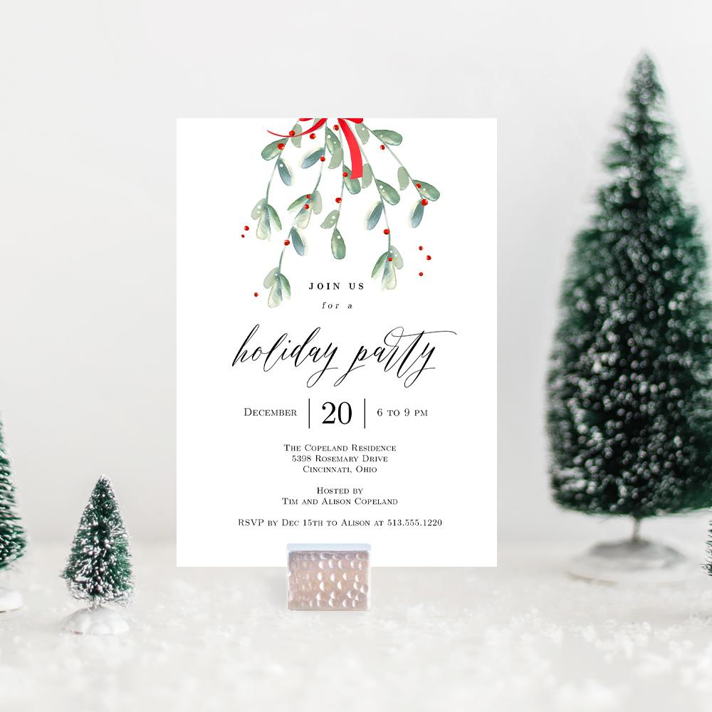 Christmas Party Invitation Template.Lovely Mistletoe Holiday Party Invitation Lmc