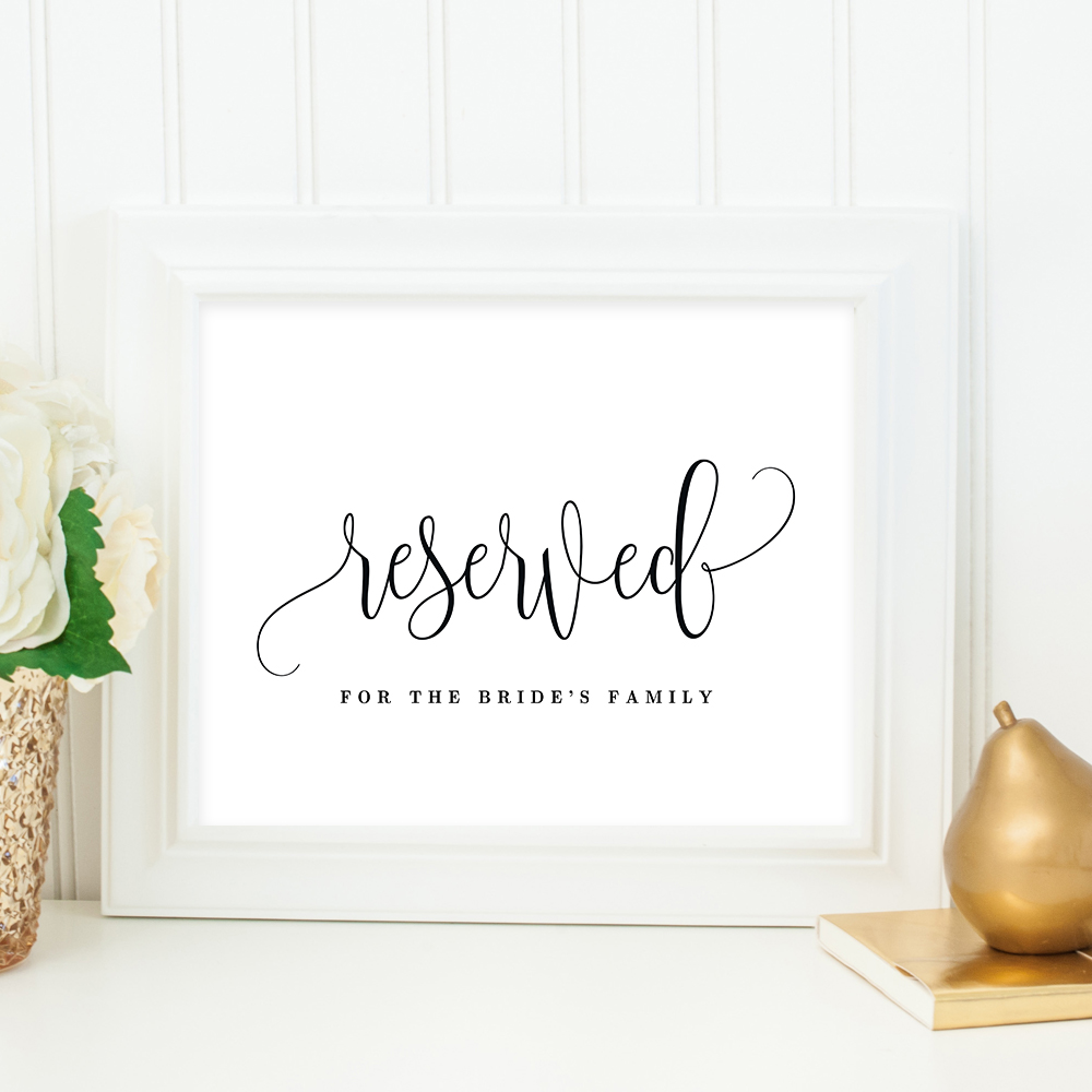 image regarding Printable Reserved Signs named Reserved Signal Beautiful Calligraphy #LCC