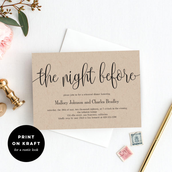 graphic regarding Printable Rehearsal Dinner Invitations known as The Night time Just before Rehearsal Supper Invitation #LCC