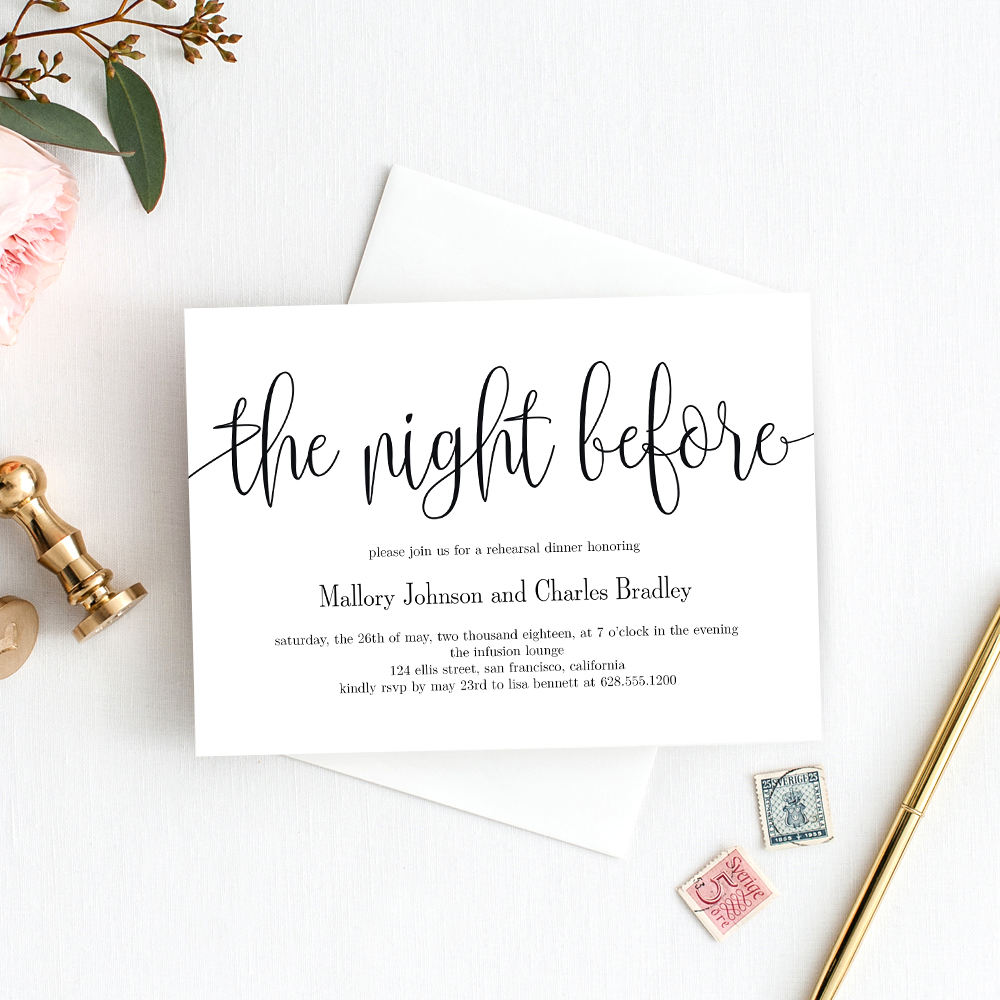 The Night Before Rehearsal Dinner Invitation #LCC - Berry Berry Sweet  Printables