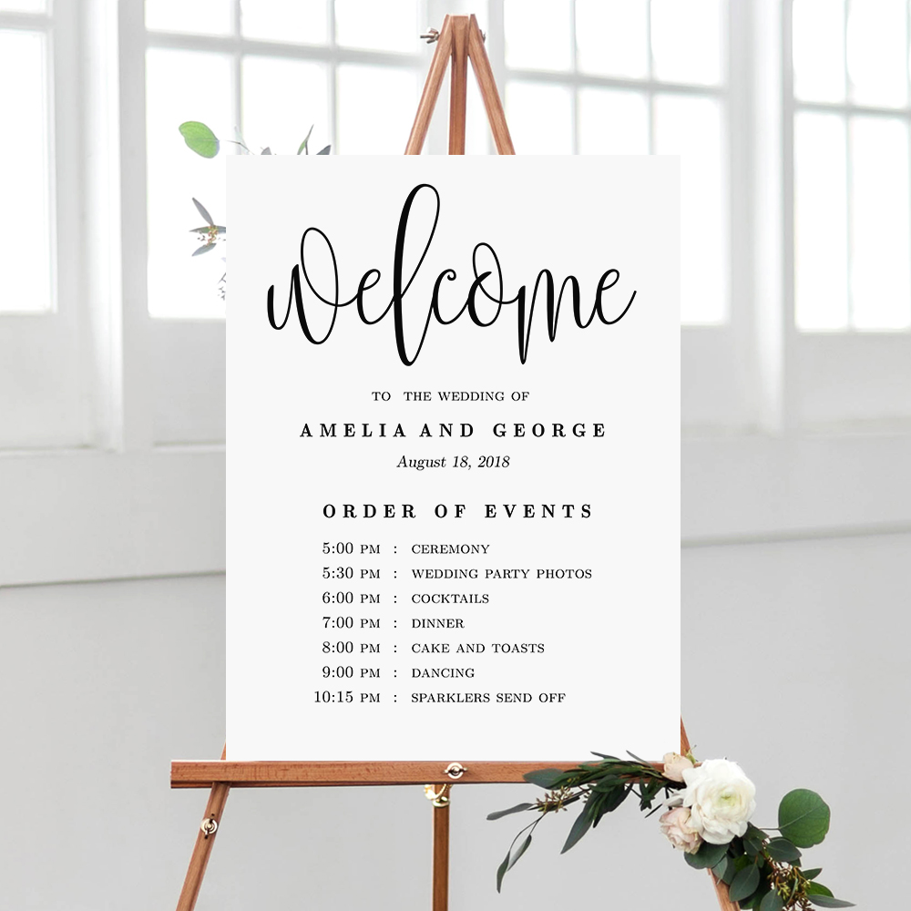 lovely calligraphy wedding order of events sign  lcc
