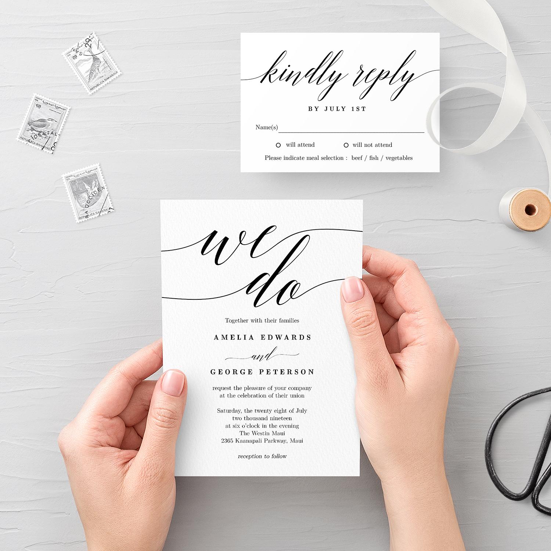 Modern Script Wedding Invitation and RSVP #MSC - Berry ...