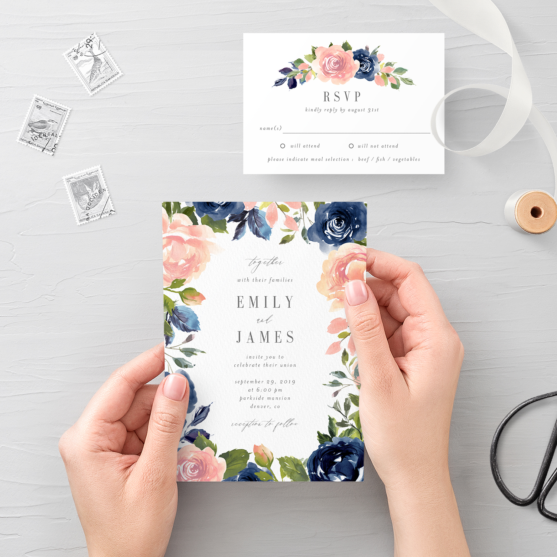 Navy Blush Wedding Invitation And Rsvp Nbc Berry Berry Sweet