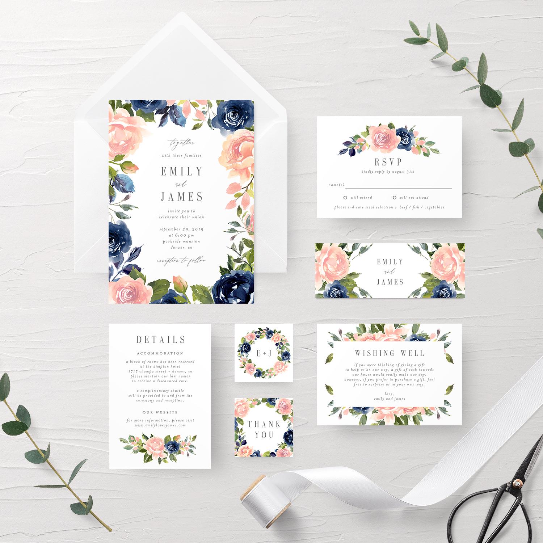 Navy Blush Wedding Invitation Suite Nbc Berry Berry Sweet