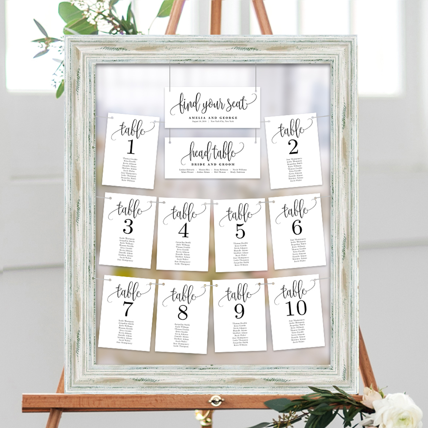 table seating chart cards lovely calligraphy  lcc