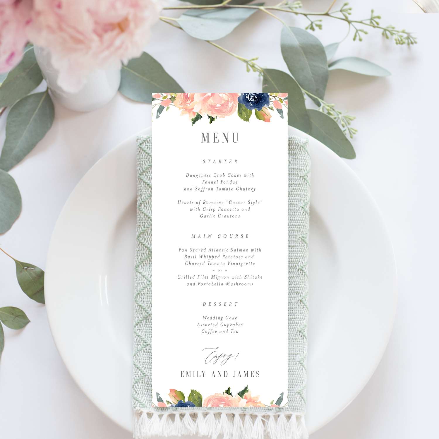 picture about Printable Menu Cards known as Army Blush Marriage ceremony Menu Card #NBC