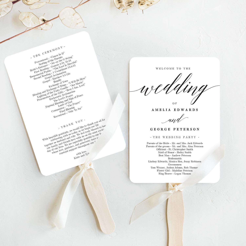 Wedding Program Fan Template.Modern Script Wedding Program Fan Template Msc Berry