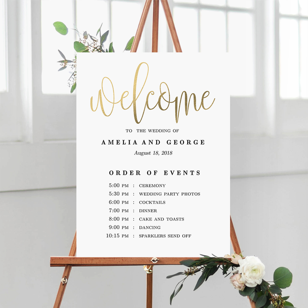 Order Of Events Wedding.Lovely Calligraphy Wedding Order Of Events Sign Faux Gold Foil Lcg