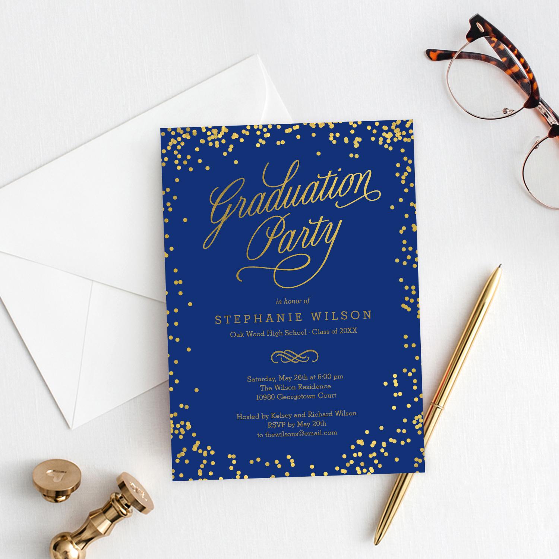 shiny confetti graduation invitation template editable. Black Bedroom Furniture Sets. Home Design Ideas